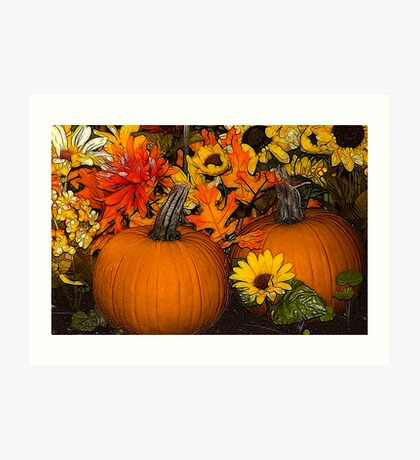 Pumpkins- treatment by Angel Perry Art Print
