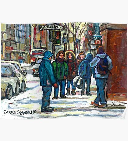 MONTREAL ART PAINTINGS MONTREAL DOWNTOWN WINTER SCENE Poster