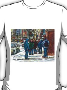 MONTREAL ART PAINTINGS MONTREAL DOWNTOWN WINTER SCENE T-Shirt