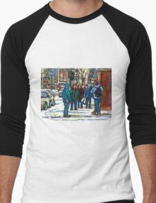 MONTREAL ART PAINTINGS MONTREAL DOWNTOWN WINTER SCENE Men's Baseball ¾ T-Shirt