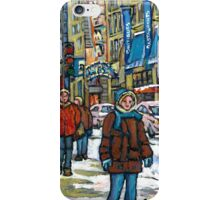 BEST CANADIAN PAINTINGS DOWNTOWN WINTER SCENES MONTREAL iPhone Case/Skin