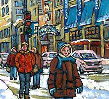 BEST CANADIAN PAINTINGS DOWNTOWN WINTER SCENES MONTREAL by Carole  Spandau