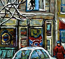 PAINTINGS OF MONTREAL RUE NOTRE DAME WINTER SCENE by Carole  Spandau