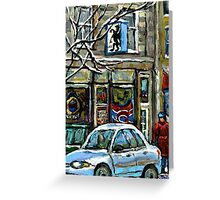 PAINTINGS OF MONTREAL RUE NOTRE DAME WINTER SCENE Greeting Card