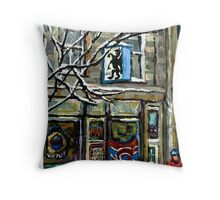 PAINTINGS OF MONTREAL RUE NOTRE DAME WINTER SCENE Throw Pillow