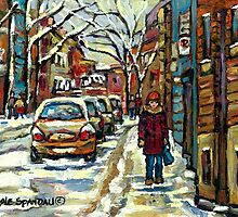 VERDUN AVENUES URBAN WINTER PAINTINGS MONTREAL ART by Carole  Spandau