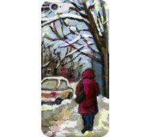 WALKING PAST THE BLUE STAIRCASE VERDUN MONTREAL WINTER SCENE iPhone Case/Skin