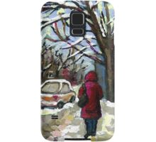 WALKING PAST THE BLUE STAIRCASE VERDUN MONTREAL WINTER SCENE Samsung Galaxy Case/Skin
