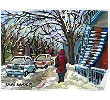 WALKING PAST THE BLUE STAIRCASE VERDUN MONTREAL WINTER SCENE Poster