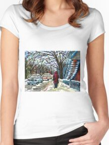 WALKING PAST THE BLUE STAIRCASE VERDUN MONTREAL WINTER SCENE Women's Fitted Scoop T-Shirt