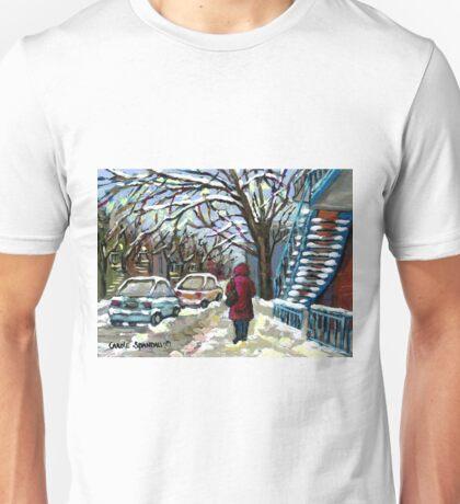 WALKING PAST THE BLUE STAIRCASE VERDUN MONTREAL WINTER SCENE Unisex T-Shirt
