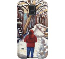 CANADIAN PAINTINGS MONTREAL WINTER CITY SCENE Samsung Galaxy Case/Skin