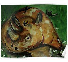 Rhino laying down, watercolor Poster