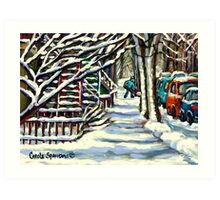CANADIAN WINTER SCENE MONTREAL CITY SCENE PAINTINGS Art Print
