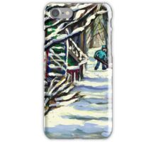 CANADIAN WINTER SCENE MONTREAL CITY SCENE PAINTINGS iPhone Case/Skin