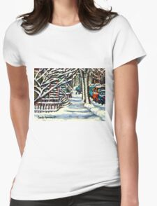 CANADIAN WINTER SCENE MONTREAL CITY SCENE PAINTINGS Womens Fitted T-Shirt