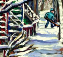 CANADIAN WINTER SCENE MONTREAL CITY SCENE PAINTINGS Sticker