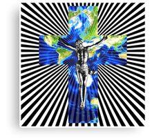 Climate Change Cube Earth Op Art Pop Jesus Canvas Print