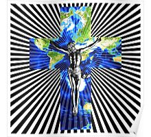 Climate Change Cube Earth Op Art Pop Jesus Poster
