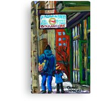 MONTREAL BAGEL SHOPS CANADIAN ART WINTER CITY SCENE Canvas Print