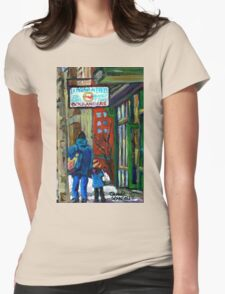 MONTREAL BAGEL SHOPS CANADIAN ART WINTER CITY SCENE Womens Fitted T-Shirt