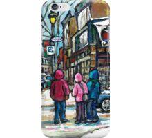 RUE WELLINGTON VERDUN MONTREAL WINTER STREET SCENE iPhone Case/Skin