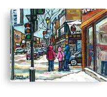 RUE WELLINGTON VERDUN MONTREAL WINTER STREET SCENE Canvas Print
