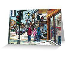 RUE WELLINGTON VERDUN MONTREAL WINTER STREET SCENE Greeting Card