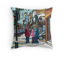 RUE WELLINGTON VERDUN MONTREAL WINTER STREET SCENE Throw Pillow