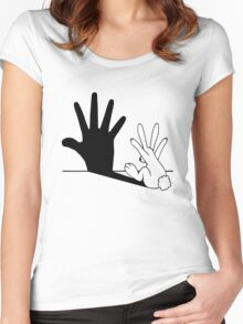 Rabbit Hand Shadow Women's Fitted Scoop T-Shirt