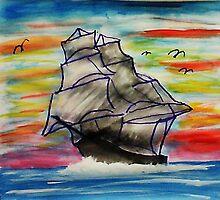 Full mast sailing ship by Anna  Lewis, blind artist