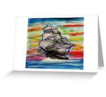 Full mast sailing ship Greeting Card