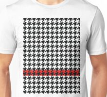 Houndstooth Pattern with Red Accent Stripe Unisex T-Shirt