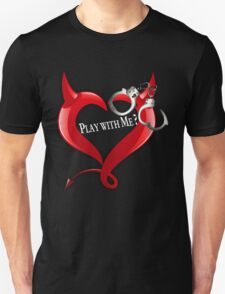 Devil Heart and Handcuffs - White Text, Black background. Unisex T-Shirt