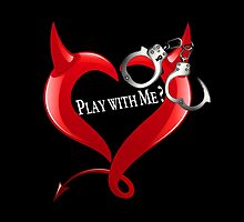 Devil Heart and Handcuffs - White Text, Black background. by InterestingImag