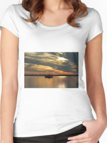 Sunset Over The Water Women's Fitted Scoop T-Shirt
