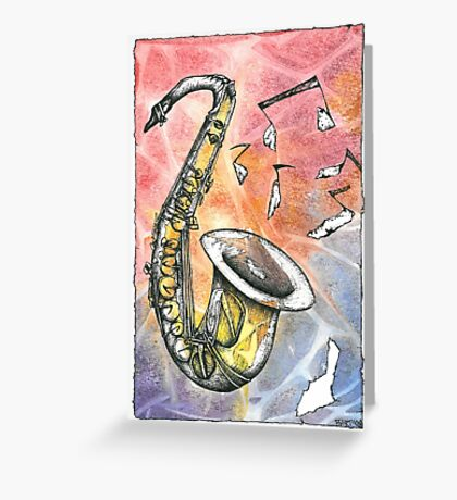 Saxophone Notes Greeting Card