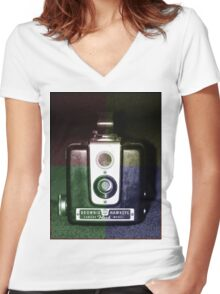 Colorful Brownie Hawkeye Women's Fitted V-Neck T-Shirt