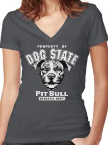 Dog State Pit Bull Women's Fitted V-Neck T-Shirt