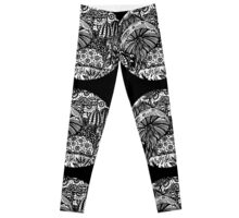 Mushroom Circle Var 2 - For Black Surround  White Detail Only Centre Aussie Tangle by Heather Leggings