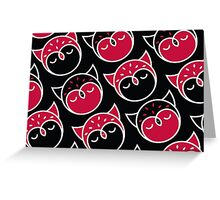 Red, Black and White Owl Pattern Greeting Card