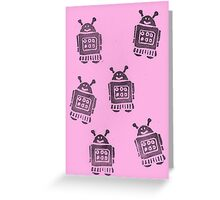 Pink Robots Greeting Card