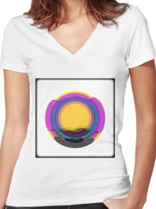 Modern scenery, repeat pattern, purple, blue, yellow, gray Women's Fitted V-Neck T-Shirt
