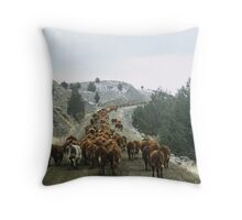 Cattle Drive Throw Pillow
