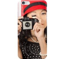 Pin-up photographer in 40s fashion holding camera iPhone Case/Skin