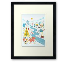 Papa Bear Goes Camping - Red Framed Print