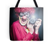 Clown Paparazzi Taking Photograph At Red Carpet Event Tote Bag
