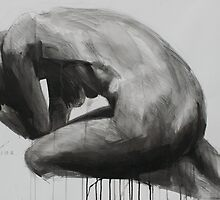 Crouching Clutching Figure by Josh Bowe
