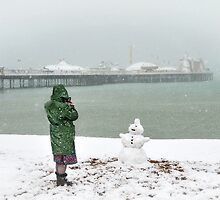 Brighton beach snowman by Zuzana D Photography