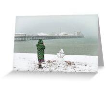 Brighton beach snowman Greeting Card